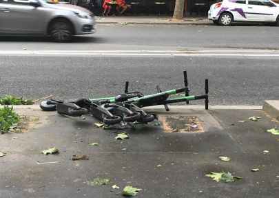 Scooters knocked over in windstorm